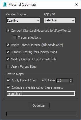 Optimize Materials, Forest Pack