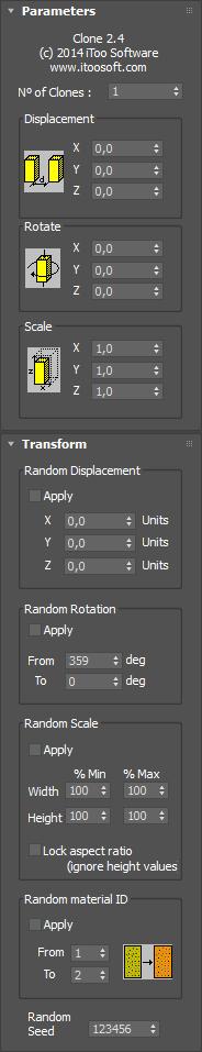 Clone Parametric interface, Itoosoft