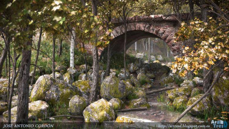 Roman bridge over creek , Forest Pack