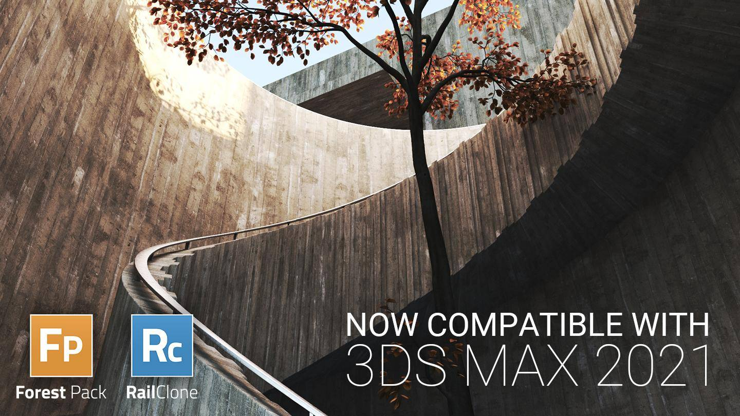 RailClone and Forest Pack now compatible with 3ds Max 2021