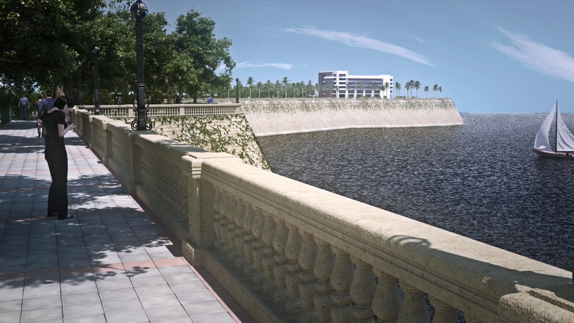 Create a seaside promenade