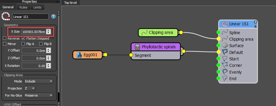 Basic graph for a sunflower seed effect with RailClone