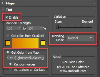 RailClone colour setup for colour extraction