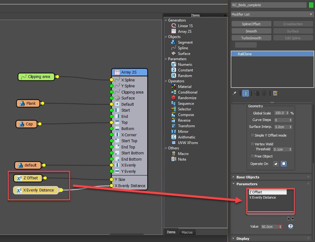 Exporting parameters
