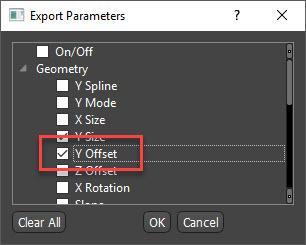 Export Y Offset